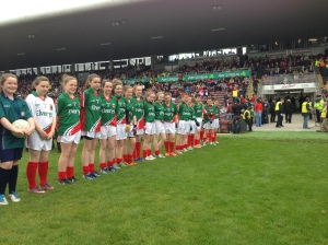Mayo Cumann na mBunscol children form their Guard of Honour in Pearse Staduim.
