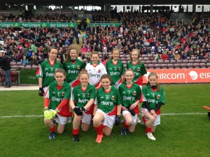 The girls from Cumann na mBunscol Maigh Eo in Pearse Staduim
