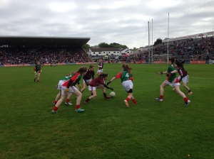 Action from the girls' exhibition game in Pearse Stadium