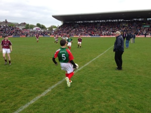 Action from the boys' exhibition game in Pearse Stadium.