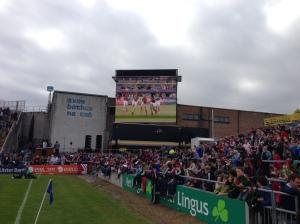 Mayo Cumann na mBunscol girls on the big screen in Pearse Stadium