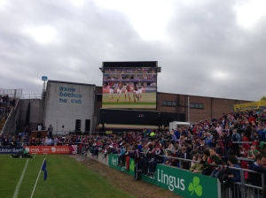 Mayo Cumann na mBunscol girls on the big screen in Pearse Stadium