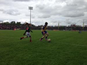 Action from the girls' exhibition game, June 16th.
