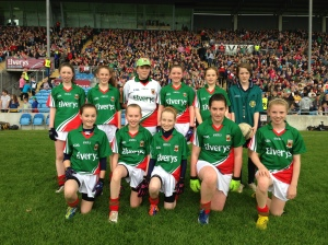 The Mayo girls who participates in the Cumann na mBunscol Exhibition Game in McHale Park, June 16th.
