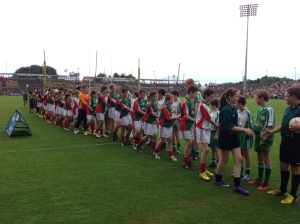 "The children of Cumann na mBunscol Connacht and Seoul Gaels line up for the ""Respect"" handshake prior to their exhibition match"