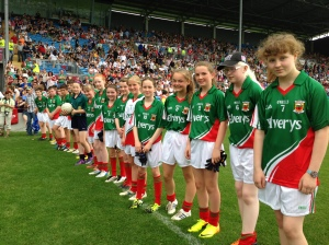 Cumann na mBunscol children line up for the pre match Guard of Honour