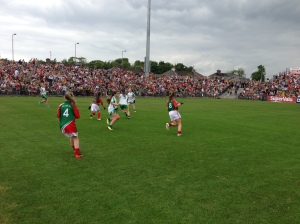 Action from the girls' exhibition in McHale Park, July 21st 2013