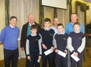 St. Patrick's B.N.S. 3rd place, pictured with Cumann na mBunscol officers Tony Fahy, Pat Dowling and quizmaster Dermot Keane and their teacher Pat Waldron