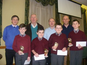 Winners Breaffy N. S., Castlebar, pictured with Cumann na mBunscol officers Tony Fahy, Pat Dowling, Quizmaster Dermot Keane and their teacher Seán Grealis.