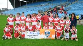 Aghamore N.S.winners up of Div 1 in the Allianz Cumannn na mBunscol, Hurling final in Mc Hale Park, with Lorraine Maloney teacher. Picture; Frank Dolan.