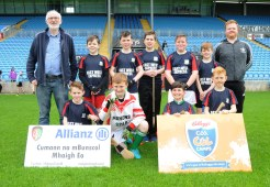 Cloonlyon N.S. runners up of Div 4 in the Allianz Cumannn na mBunscol, Hurling final in Mc Hale Park, with Pat Collins, and Barry Mc Guire teachers. Picture; Frank Dolan.