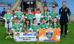 Derrinabroc N.S. winners of Div 3 in the Allianz Cumannn na mBunscol, Hurling final in Mc Hale Park, with Dermot Dillon teacher. Picture; Frank Dolan.