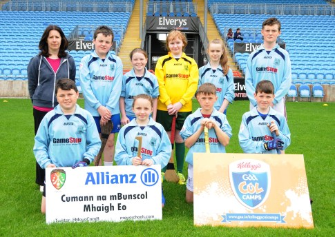 Manualla N.S. winners of Div 4 in the Allianz Cumannn na mBunscol, Hurling final in Mc Hale Park, with Noala Gibbons teacher. Picture; Frank Dolan.
